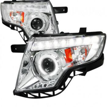 Farol Chromo LED Projetor Angel Eyes Ford Edge - 2007 a 2010