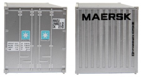 Container Walthers 20 Pés Ribbed-Side Maersk - WAL-8001  - foto principal 2