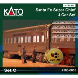 Escala N - Conjunto Santa Fe Super Chief sendo 2 ACF 10-6 Sleeper e 2 ACF 4-4-2 Sleeper - KAT-1066005