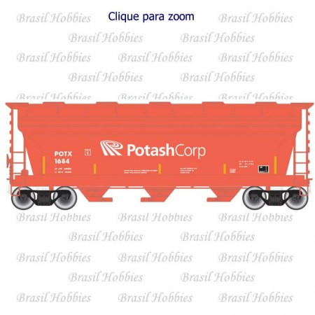 Escala N - Vagão Atlas ACF 3560 Covered Hopper Potash Corp  #1589 - ATL-50004015  - foto principal 1