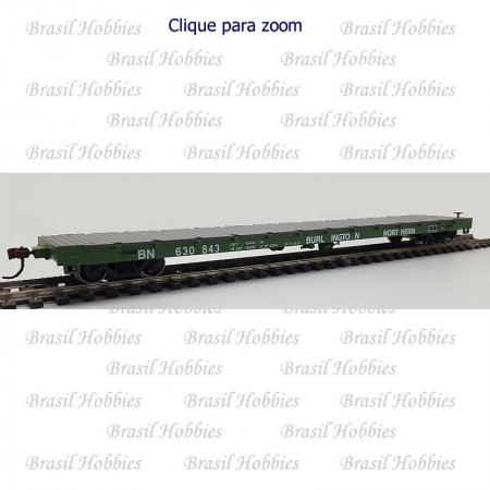 Vagão Athearn 60 Pés Flat Car Burlington Northern #630843 - ATH-92673  - foto principal 1