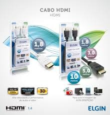 Cabo HDMI Full HD Universal 1080 High Speed Preto Pontas Douradas 1,8 Mt - ELGIN  - foto principal 1