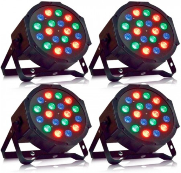 Kit 4 Canhões Refletores Led Par Slim 18 Leds 1W RGB Cooler