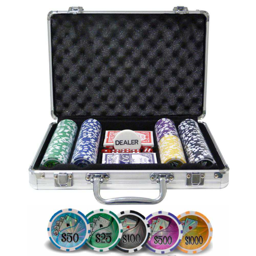 Maleta De Poker Grand Royale Oficial - 200 Fichas Numeradas 11,5 Gramas - 2 Deck Dealer Poker Set