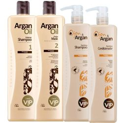 Vip Argan Escova Progressiva + kit Pós Progressiva 2 x 1000ml