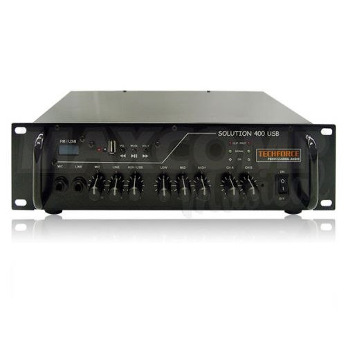 Amplificador Techforce Solution 400 Usb 4 Ohms 200 Wrms Rádio FM