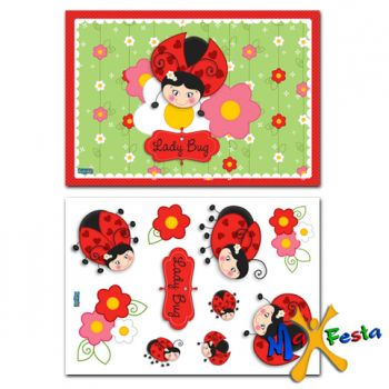 Kit Decorativo Cartonado Joaninha
