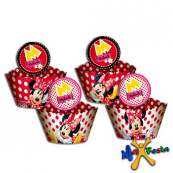 Cupcake Wrapper Red Minnie Pct 12 unidades