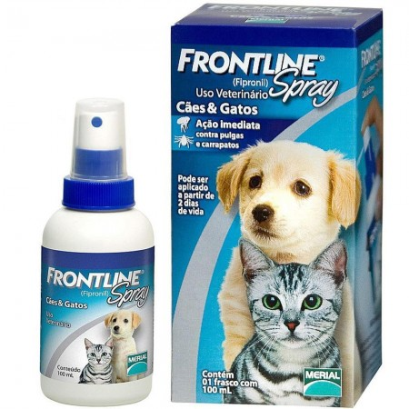 FRONTLINE SPRAY 100ML ANTIPULGAS E CARRAPATOS P/ CÃES E GATOS
