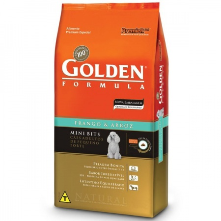 GOLDEN FÓRMULA ADULTO MINI BITS FRANGO E ARROZ 3KG