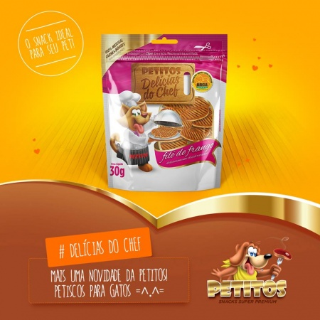 PETITOS DELICIAS DO CHEF FILE DE FRANGO 30G - PETISCO PARA GATOS - UN