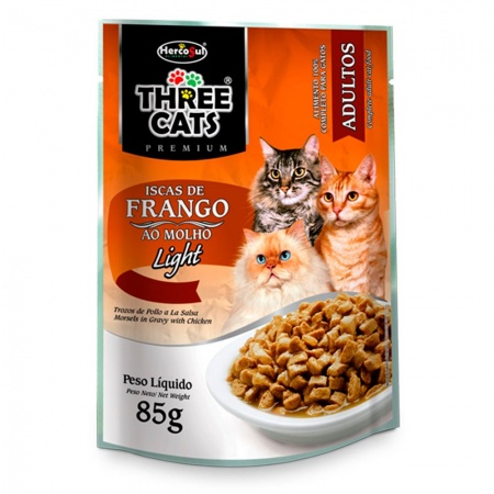 THREE CATS SACHET ISCAS DE FRANGO AO MOLHO LIGHT 85G - ADULTOS