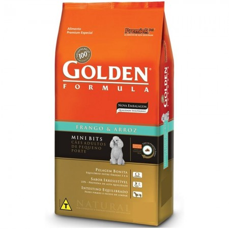GOLDEN FÓRMULA ADULTO MINI BITS FRANGO E ARROZ 1KG