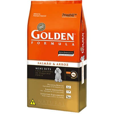 GOLDEN FÓRMULA SALMÃO E ARROZ MINI BITS ADULTO 1KG - pet patao