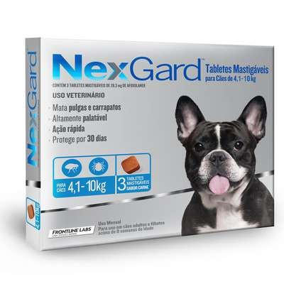 NEXGARD TABLETE MASTIGAVEL CONTRA PULGAS E CARRAPATOS 4-10KG COM 3 TABLETES