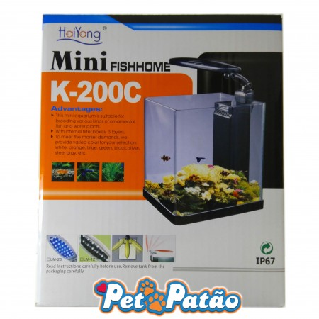 HAIYANG AQUARIO FISH HOME K-200C PRATA 10 LITROS LED 127V - UN