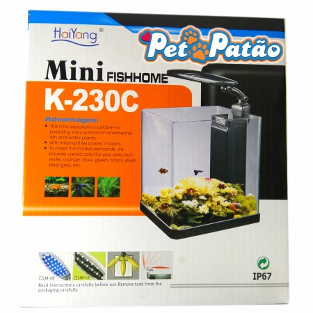 HAIYANG AQUARIO FISH HOME K-230C PRETO 14 LITROS LED 220V - UN