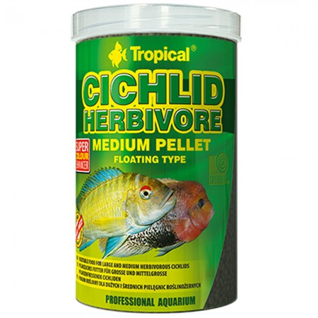 TROPICAL CICHLID HERBIVORE MEDIUM PELLET 180G - ( TROPICAL CICLIDEOS HERBIVOROS )