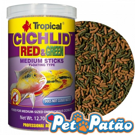 TROPICAL CICHLID RED & GREEN MEDIUM STICKS 90G