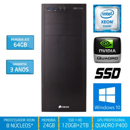 Workstation Silix® 8* Núcleos X1200WB V6 Intel Xeon E3-1230 V6 3.5 GHZ 8 MB / 24GB DDR4 / SSD 120GB + 2TB SATA3 / DVD-RW / Quadro Pascal P400 2GB 256 CUDA / Torre / Windows 10 Pro OEM