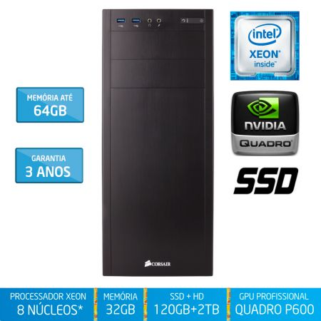 Workstation Silix® 8* Núcleos X1200WE V6 Intel Xeon E3-1230 V6 3.5 Ghz 8 MB / 32GB DDR4 / SSD 120GB + 2TB SATA3 / DVD-RW / Quadro Pascal P600 2GB 384 CUDA / Torre