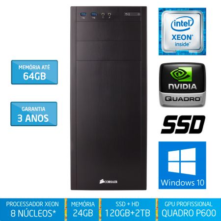 Workstation Silix® 8* Núcleos X1200WE V6 Intel Xeon E3-1230 V6 3.5 Ghz 8 MB / 24GB DDR4 / SSD 120GB + 2TB SATA3 / DVD-RW / Quadro Pascal P600 2GB 384 CUDA / Torre / Windows 10 Pro OEM