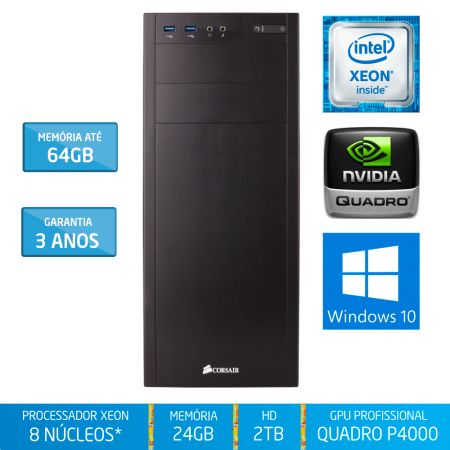 Workstation Silix® 8* Núcleos X1200WH V6 Intel Xeon E3-1230 V6 3.5 GHZ 8 MB / 24GB DDR4 / 2TB SATA3 / DVD-RW / Quadro Pascal P4000 8GB 1792 CUDA / Torre / Windows 10 Pro OEM