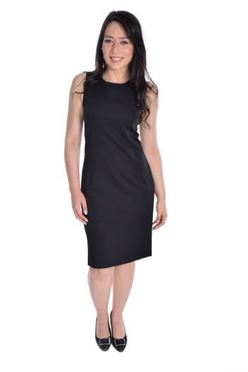 Vestido Tubo sem Forro Decote Redondo Two Way - Preto