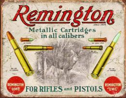 Placa Metálica Decorativa Remington Bullet