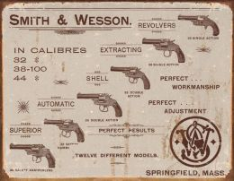 Placa Metálica Decorativa Smith & Wesson Revolvers