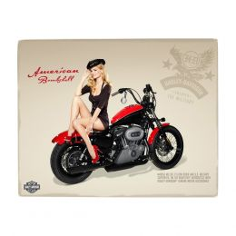 Placa Decorativa de Alumínio - Harley Davidson Pin-Up Girl