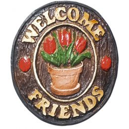 Placa Welcome Friends Flores