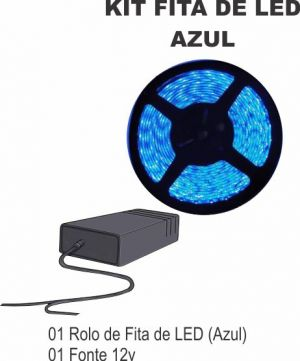 Kit Fita de LED Azul 01 Rolo 5M + Fonte 12V LED 3528