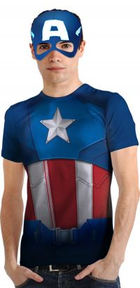 Camiseta Casual Capitao America Adulto