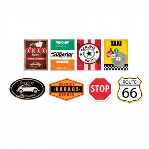 Cartaz Decorativo Garage Route 66 com 8 unidades Cromus