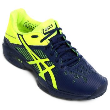 Tênis Asics Gel Solution Speed 3 All Court Indigo Blue / Safety Yellow -