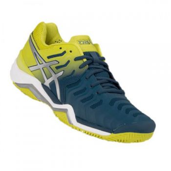 Tênis Asics Gel Resolution 7 Clay Azul Petróleo e Verde Limão