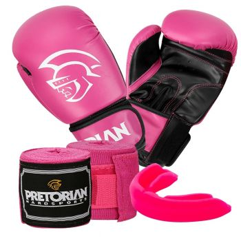 Kit Boxe Muay Thai First Pretorian Bucal Bandagem Luva Rosa