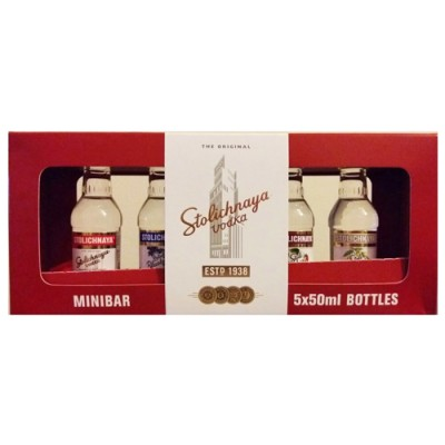 Kit Vodka Stolichnaya Minibar - Miniatura - 5 x 50ml