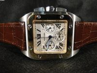 REPLICA DE RELOGIO CARTIER SANTOS CHRONO COURO ARO GOLD  - CAR06