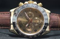 ROLEX DAYTONA GOLD CERAMIC COURO CHOCOLATE
