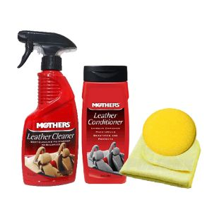 Kit Limpeza e Hidratação de Couro Mothers (1 Leather Cleaner + 1 Leather Conditioner + 1 Flanela 40 x 40 + 1 Esp Aplic)
