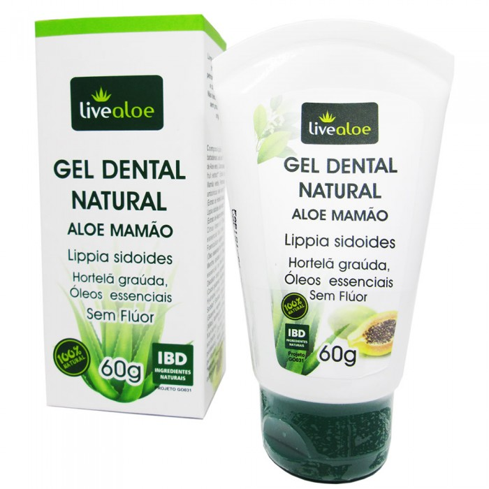 Gel Dental Natural Aloe Mamão - Livealoe - 60gr