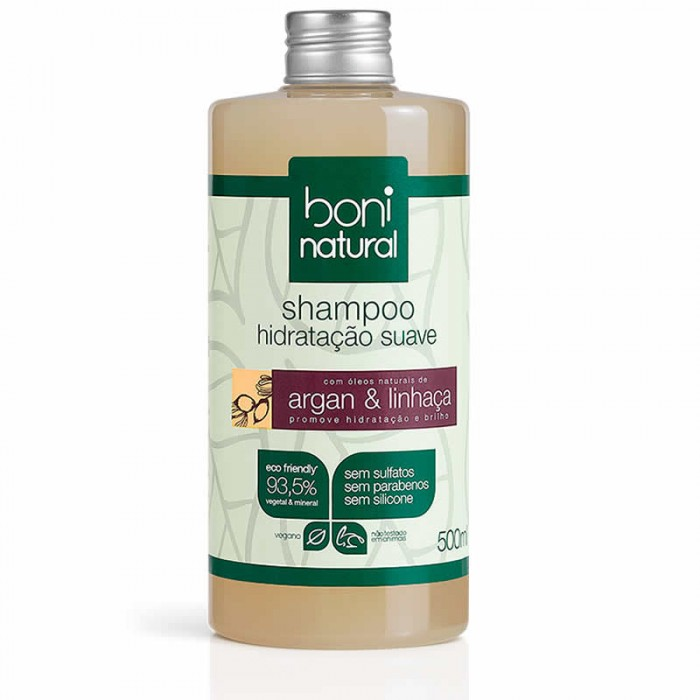 Shampoo Argan e Linhaça - Boni Natural - 500ml