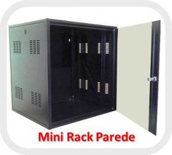 Mini Rack Bracket 19 Polegadas 6U x 570mm Porta de vidro com Chaves