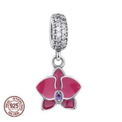 berloque (charm )pandora Original 925 Sterling Silver Radiant Orchid MÃE Do Floco De Neve Margarida Pingente Beads Fit Charm Bracelet Jóias pin00048