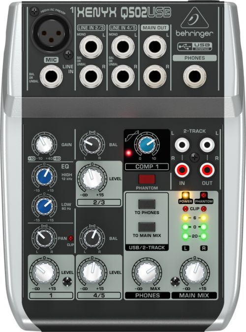 Mixer Mesa De Som 5 Canais Xenyx Q502 Usb Com interface de Audio - Behringer