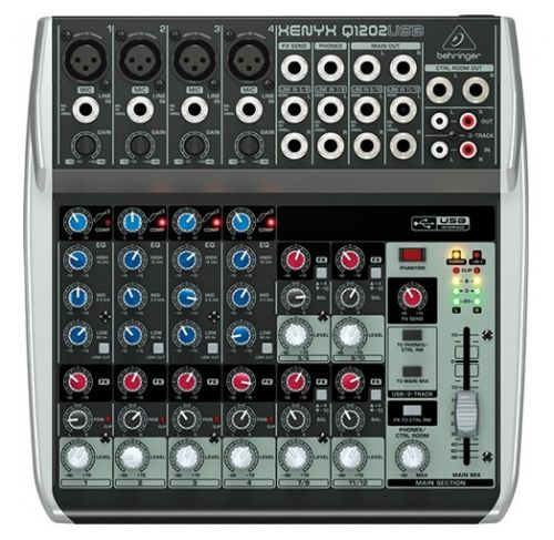Mesa de Som Behringer com Interface de Audio Mixer Q1202 USB