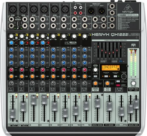 Mesa de Som Behringer com Interface USB Mixer QX1222 USB