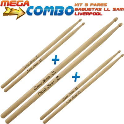 Kit 3 Baquetas Classic Series 5A Madeira LL 5AM - Liverpool